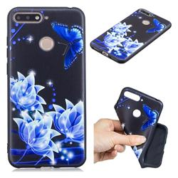 Blue Butterfly 3D Embossed Relief Black TPU Cell Phone Back Cover for Huawei Y6 (2018)