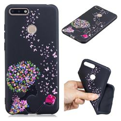 Corolla Girl 3D Embossed Relief Black TPU Cell Phone Back Cover for Huawei Y6 (2018)