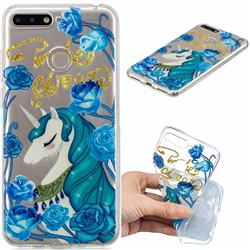 Blue Flower Unicorn Clear Varnish Soft Phone Back Cover for Huawei Y6 (2018)