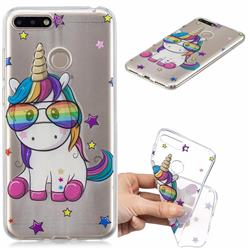 Glasses Unicorn Clear Varnish Soft Phone Back Cover for Huawei Y6 (2018)