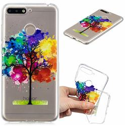 Oil Painting Tree Clear Varnish Soft Phone Back Cover for Huawei Y6 (2018)