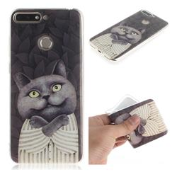 Cat Embrace IMD Soft TPU Cell Phone Back Cover for Huawei Y6 (2018)