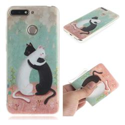 Black and White Cat IMD Soft TPU Cell Phone Back Cover for Huawei Y6 (2018)