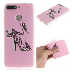 Butterfly High Heels IMD Soft TPU Cell Phone Back Cover for Huawei Y6 (2018)