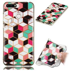 Three-dimensional Square Soft TPU Marble Pattern Phone Case for Huawei Y6 (2018)