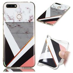 Pinstripe Soft TPU Marble Pattern Phone Case for Huawei Y6 (2018)