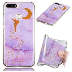 Elf Purple Soft TPU Marble Pattern Phone Case for Huawei Y6 (2018)