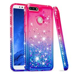 Diamond Frame Liquid Glitter Quicksand Sequins Phone Case for Huawei Y6 (2018) - Pink Blue