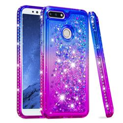Diamond Frame Liquid Glitter Quicksand Sequins Phone Case for Huawei Y6 (2018) - Blue Purple