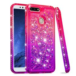 Diamond Frame Liquid Glitter Quicksand Sequins Phone Case for Huawei Y6 (2018) - Pink Purple