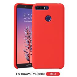 Howmak Slim Liquid Silicone Rubber Shockproof Phone Case Cover for Huawei Y6 (2018) - Red