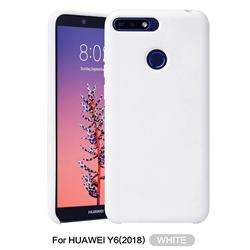 Howmak Slim Liquid Silicone Rubber Shockproof Phone Case Cover for Huawei Y6 (2018) - White