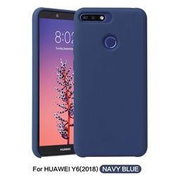 Howmak Slim Liquid Silicone Rubber Shockproof Phone Case Cover for Huawei Y6 (2018) - Midnight Blue