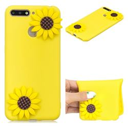 Yellow Sunflower Soft 3D Silicone Case for Huawei Y6 (2018)