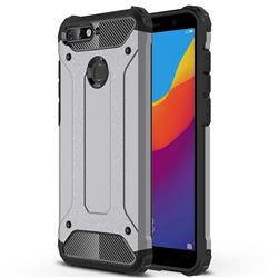King Kong Armor Premium Shockproof Dual Layer Rugged Hard Cover for Huawei Y6 (2018) - Silver Grey
