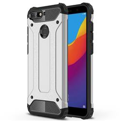 King Kong Armor Premium Shockproof Dual Layer Rugged Hard Cover for Huawei Y6 (2018) - Technology Silver