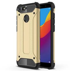 King Kong Armor Premium Shockproof Dual Layer Rugged Hard Cover for Huawei Y6 (2018) - Champagne Gold