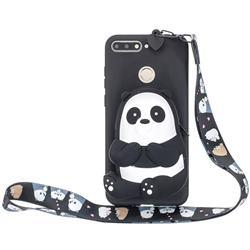 Cute Panda Neck Lanyard Zipper Wallet Silicone Case for Huawei Y6 (2018)
