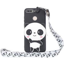White Panda Neck Lanyard Zipper Wallet Silicone Case for Huawei Y6 (2018)