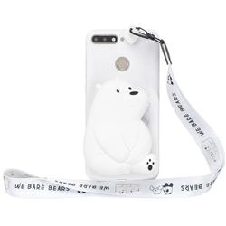 White Polar Bear Neck Lanyard Zipper Wallet Silicone Case for Huawei Y6 (2018)