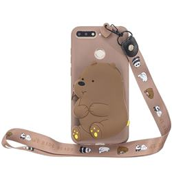 Brown Bear Neck Lanyard Zipper Wallet Silicone Case for Huawei Y6 (2018)