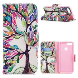 The Tree of Life Leather Wallet Case for Huawei Y6 (2018)