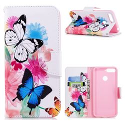 Vivid Flying Butterflies Leather Wallet Case for Huawei Y6 (2018)