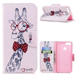 Glasses Giraffe Leather Wallet Case for Huawei Y6 (2018)