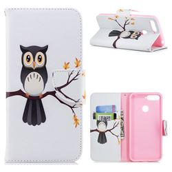 Owl on Tree Leather Wallet Case for Huawei Y6 (2018)