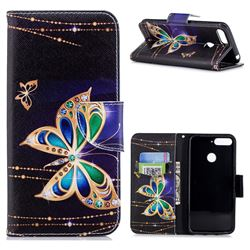Golden Shining Butterfly Leather Wallet Case for Huawei Y6 (2018)