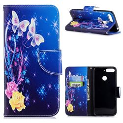 Yellow Flower Butterfly Leather Wallet Case for Huawei Y6 (2018)