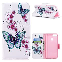 Peach Butterflies Leather Wallet Case for Huawei Y6 (2018)