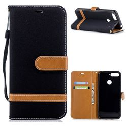 Jeans Cowboy Denim Leather Wallet Case for Huawei Y6 (2018) - Black