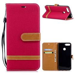Jeans Cowboy Denim Leather Wallet Case for Huawei Y6 (2018) - Red