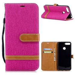 Jeans Cowboy Denim Leather Wallet Case for Huawei Y6 (2018) - Rose