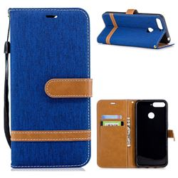 Jeans Cowboy Denim Leather Wallet Case for Huawei Y6 (2018) - Sapphire