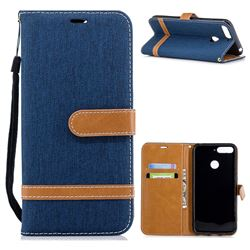 Jeans Cowboy Denim Leather Wallet Case for Huawei Y6 (2018) - Dark Blue