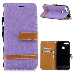 Jeans Cowboy Denim Leather Wallet Case for Huawei Y6 (2018) - Purple