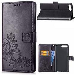 Embossing Imprint Four-Leaf Clover Leather Wallet Case for Huawei Y6 (2018) - Black