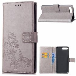 Embossing Imprint Four-Leaf Clover Leather Wallet Case for Huawei Y6 (2018) - Grey