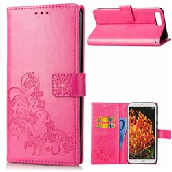 Embossing Imprint Four-Leaf Clover Leather Wallet Case for Huawei Y6 (2018) - Rose
