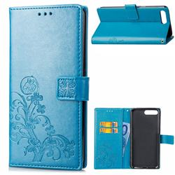 Embossing Imprint Four-Leaf Clover Leather Wallet Case for Huawei Y6 (2018) - Blue