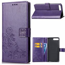 Embossing Imprint Four-Leaf Clover Leather Wallet Case for Huawei Y6 (2018) - Purple