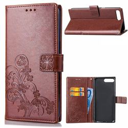 Embossing Imprint Four-Leaf Clover Leather Wallet Case for Huawei Y6 (2018) - Brown