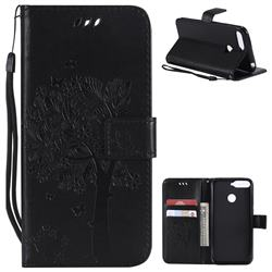 Embossing Butterfly Tree Leather Wallet Case for Huawei Y6 (2018) - Black
