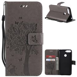 Embossing Butterfly Tree Leather Wallet Case for Huawei Y6 (2018) - Grey