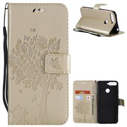 Embossing Butterfly Tree Leather Wallet Case for Huawei Y6 (2018) - Champagne