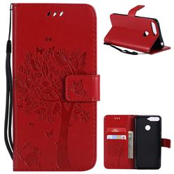 Embossing Butterfly Tree Leather Wallet Case for Huawei Y6 (2018) - Red