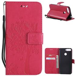 Embossing Butterfly Tree Leather Wallet Case for Huawei Y6 (2018) - Rose