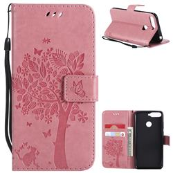 Embossing Butterfly Tree Leather Wallet Case for Huawei Y6 (2018) - Pink